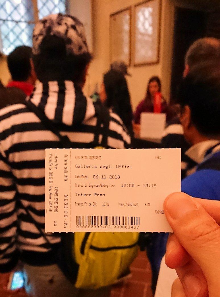 ウフィツィ美術館の入場チケットの裏