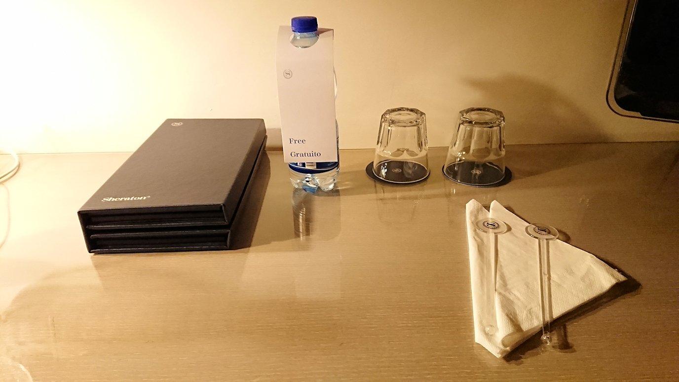 ローマシェラトンホテルの部屋に用意されている水