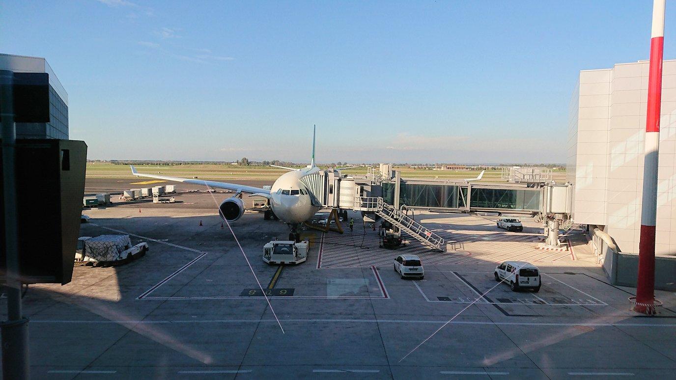 ローマ空港で飛行機を見つめる