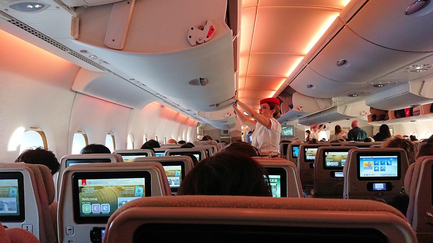 イタリアからの帰りの飛行機の機内の様子2