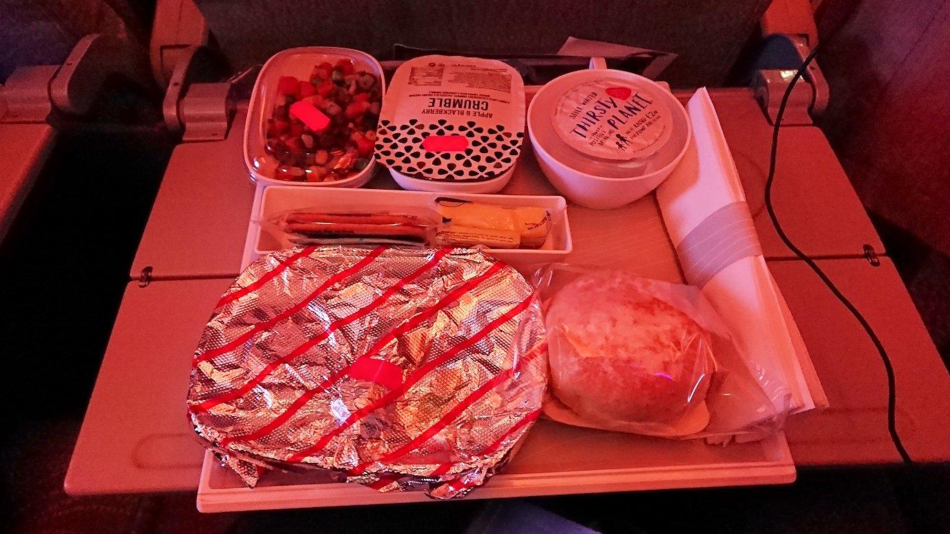 イタリアからの帰りの飛行機での機内食