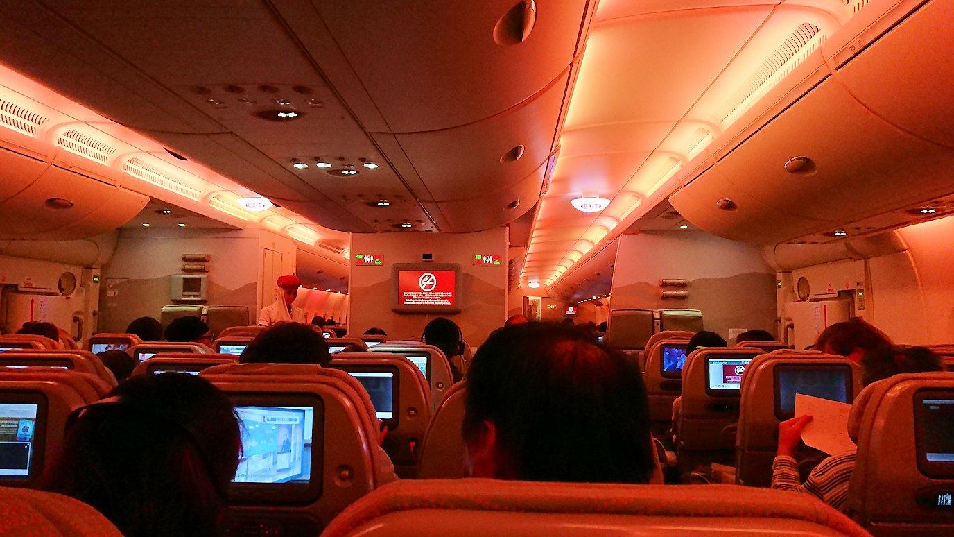 日本に帰るエミレーツ航空のA380機内の様子2