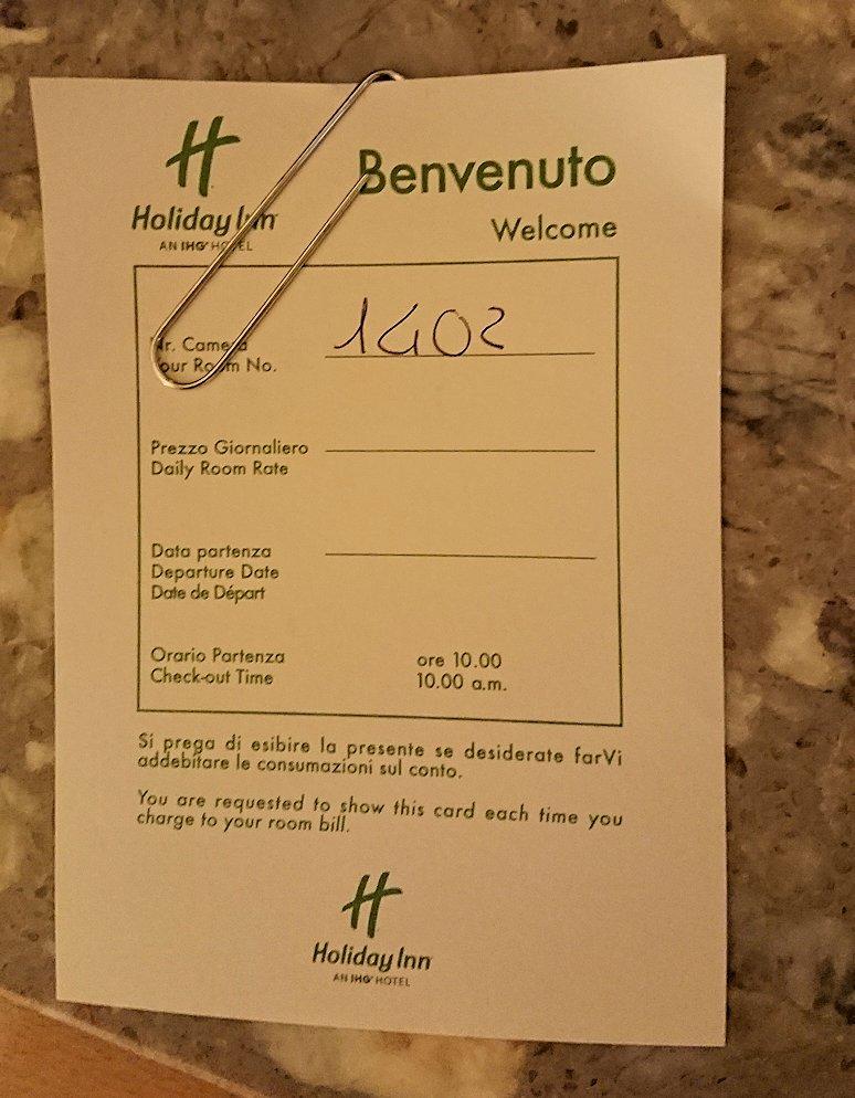 ナポリのホテルの部屋のカードキー