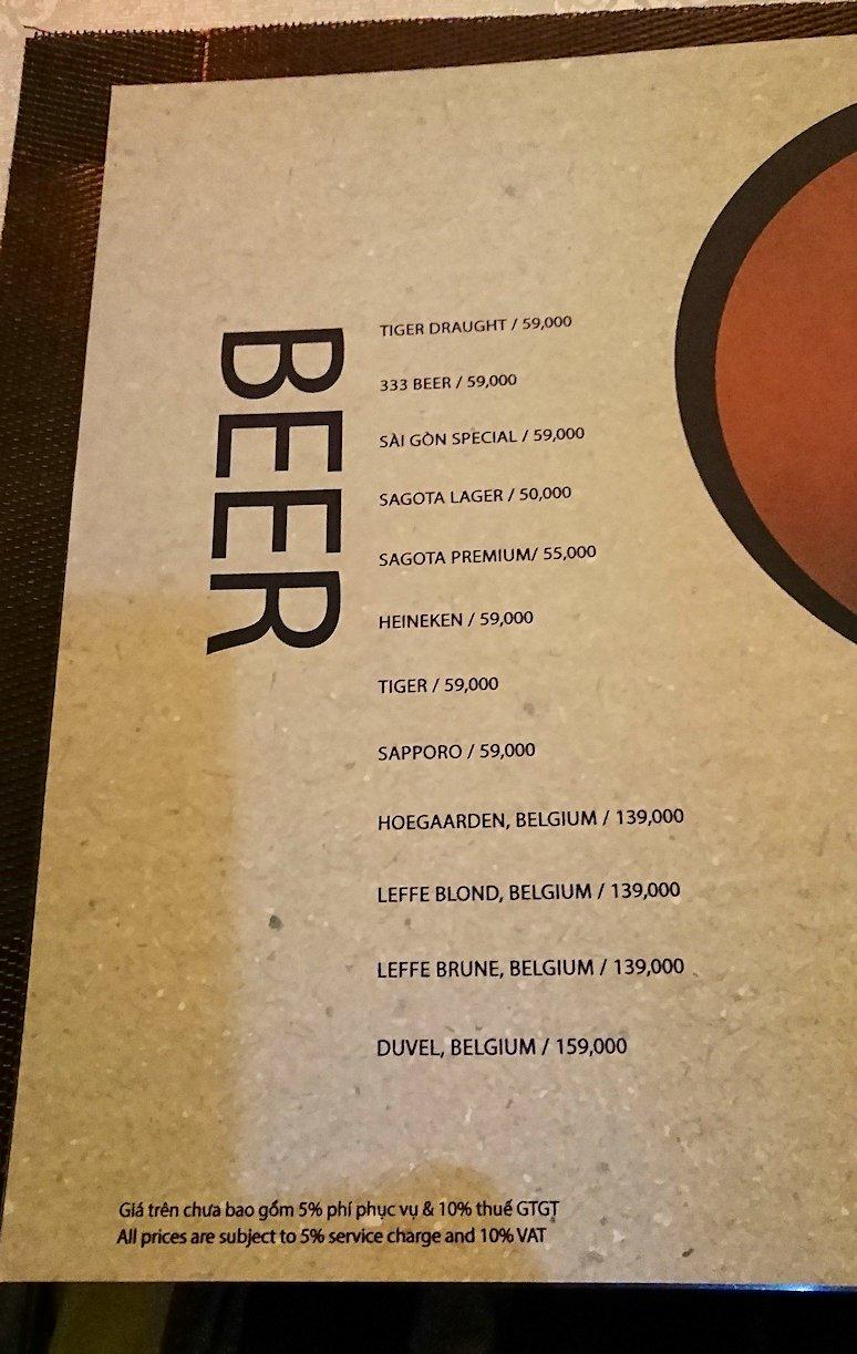 ホーチミン市内で最後の晩餐のお店「レモングラス」のメニュー3