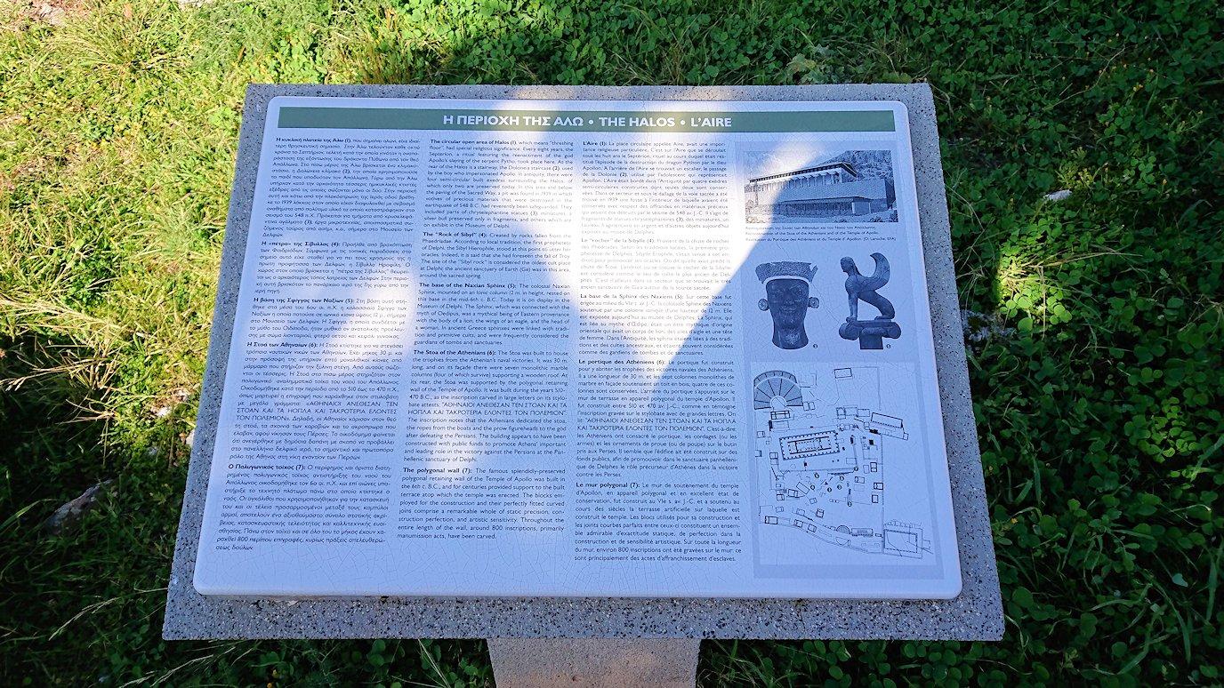 デルフィ遺跡で説明のパネルを見る