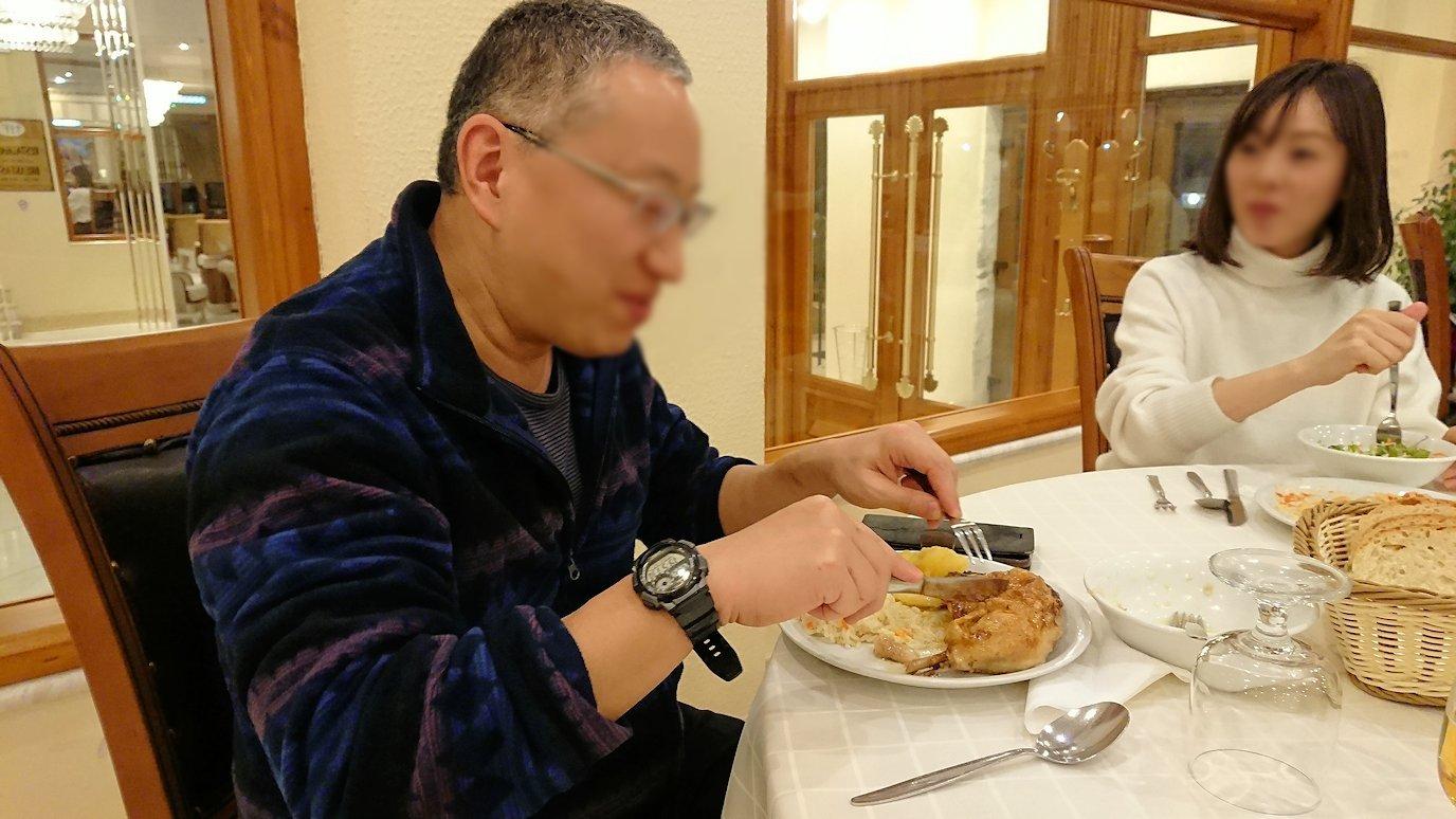 メテオラ地方のホテルのレストランで食事する6
