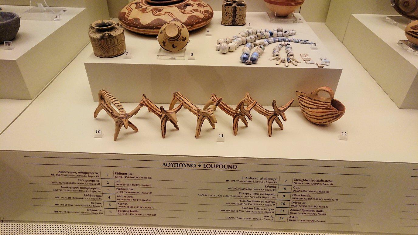 ミケーネ古代遺跡の博物館の展示物を見て回る