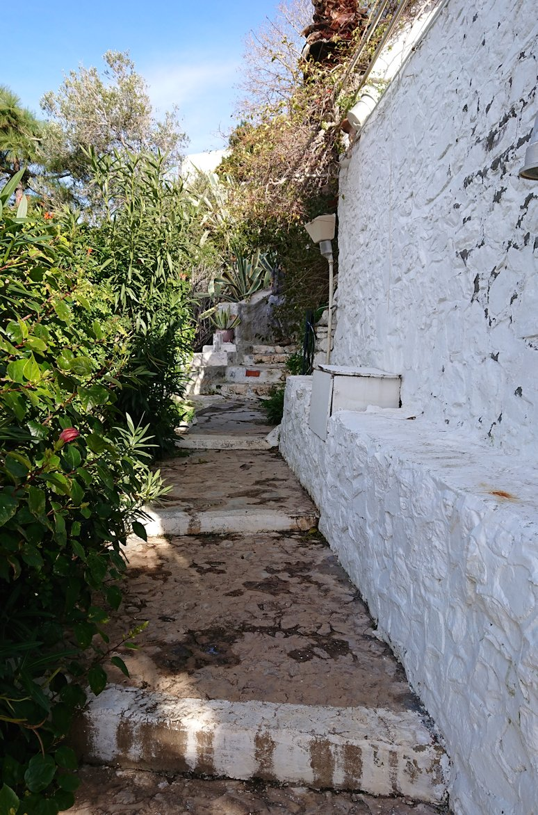 エーゲ海のイドラ島で上に繋がる階段を進む2