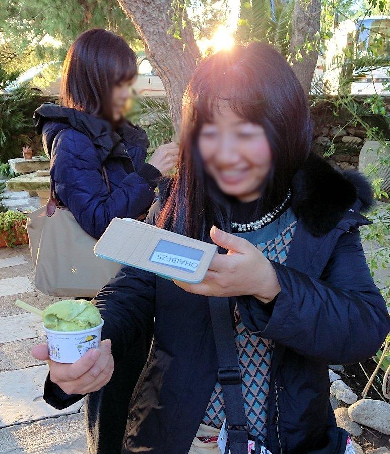 エギナ島のアフェア神殿近くの売店でピスタチオのアイスを食べる人3