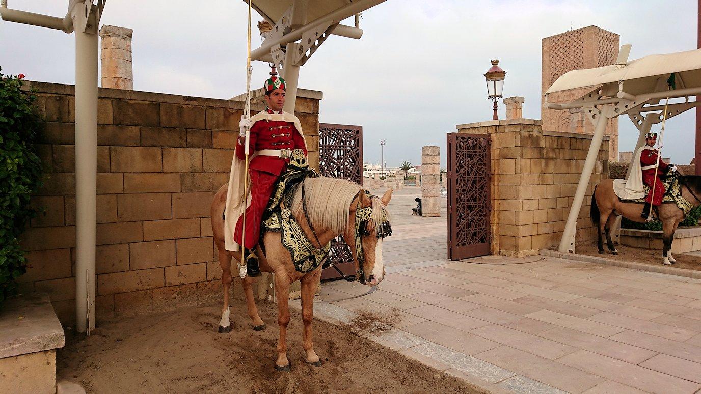 ラバトのハッサンの搭前の馬に乗った兵隊さんとたわむれる
