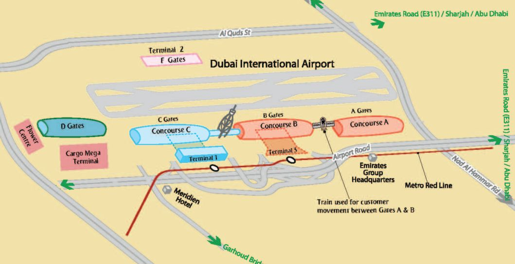 ドバイ国際空港の地図