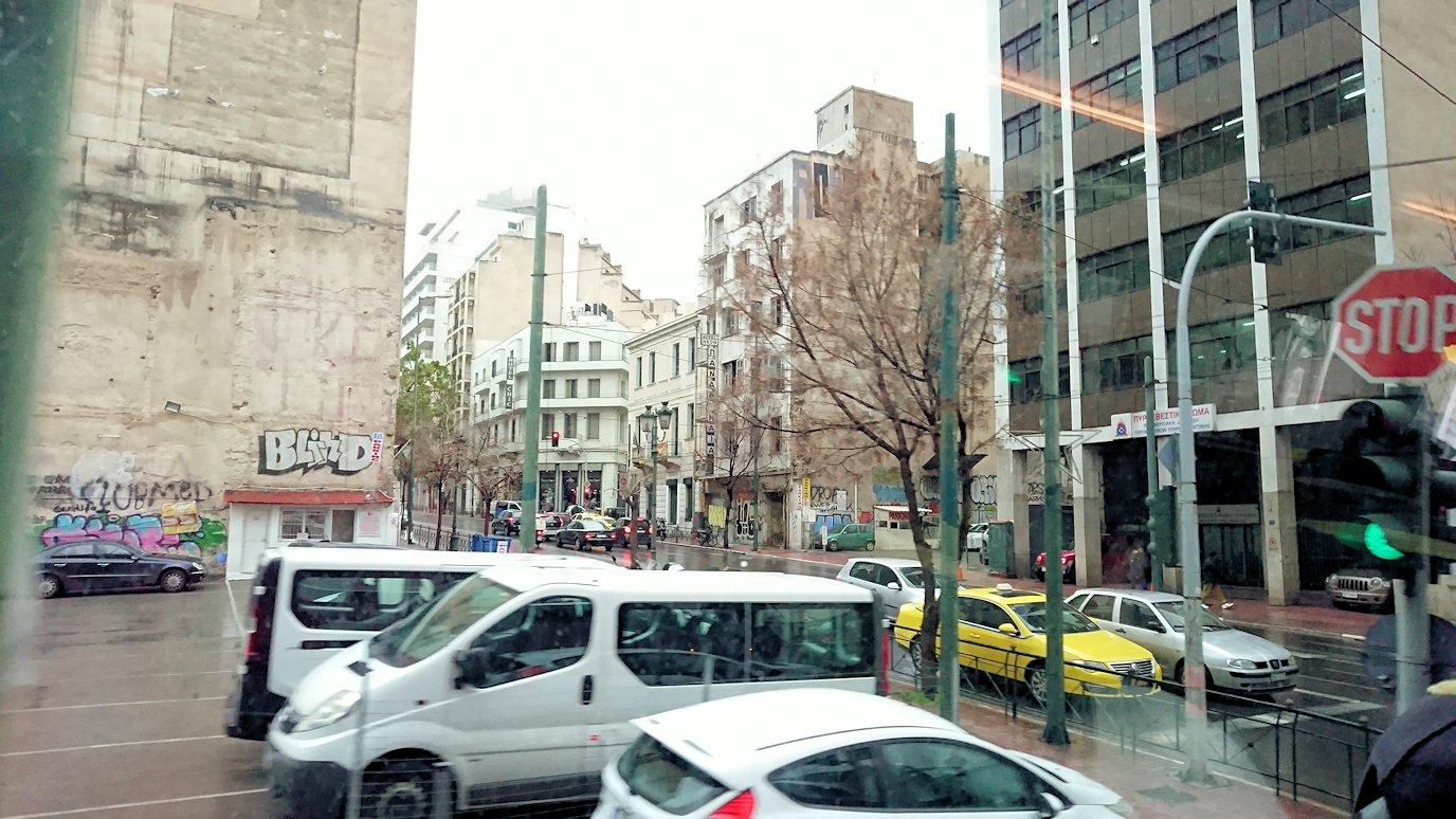 アテネ市内をバスで移動