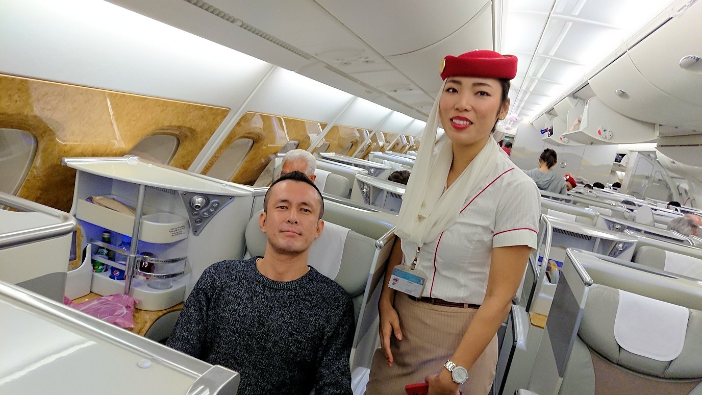 関西国際空港からビジネスクラスに乗り喜ぶボク