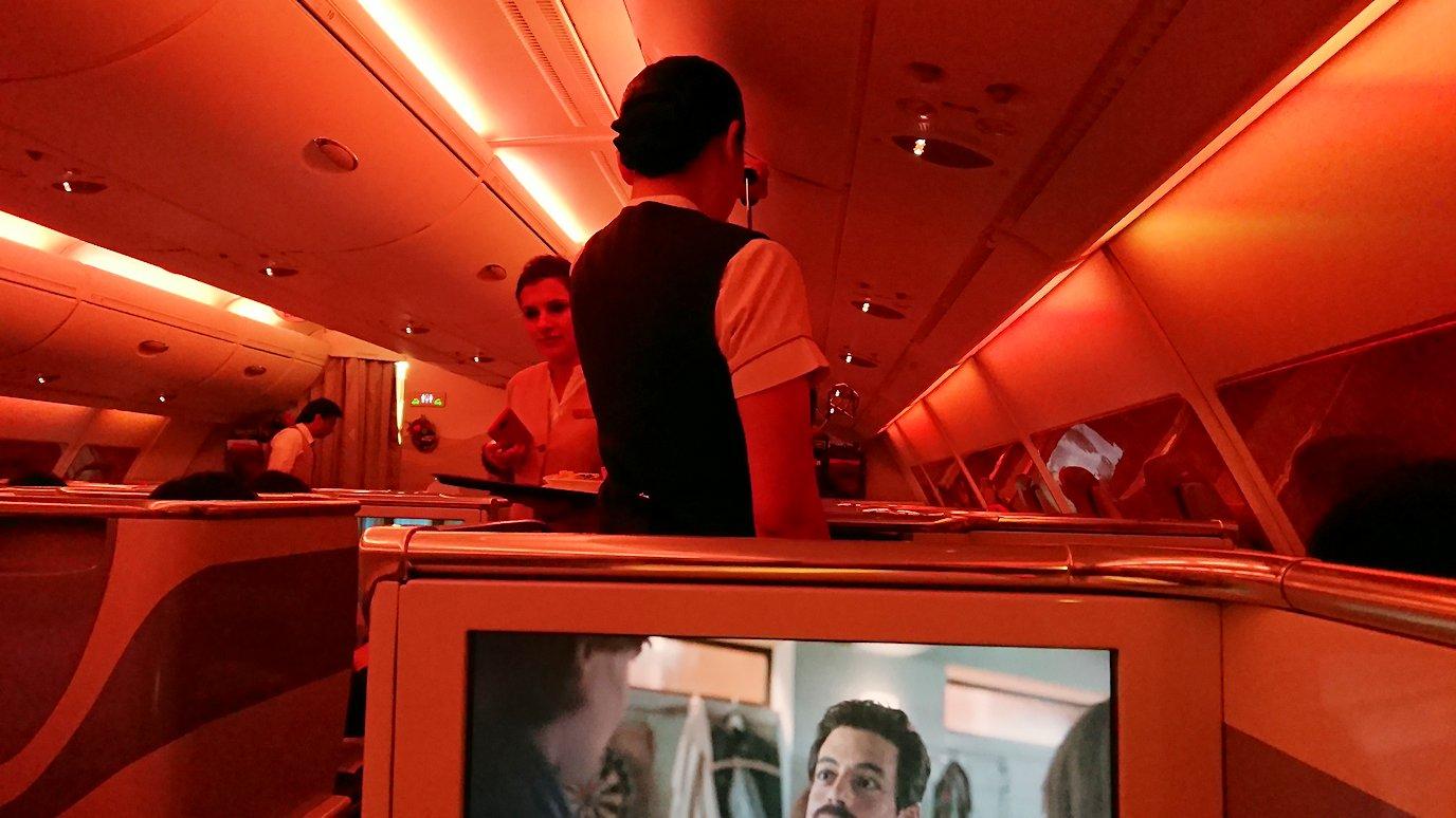 エミレーツ航空のビジネスクラスで出てきた洋風夕食の様子5