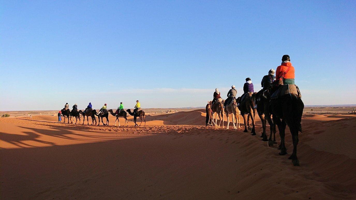 モロッコでサハラ砂漠でラクダに乗って帰るメンバーの写真