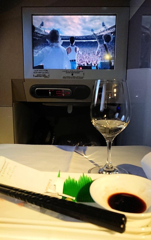 ドバイ国際空港から関西国際空港に向けて飛んでいる飛行機の機内から1