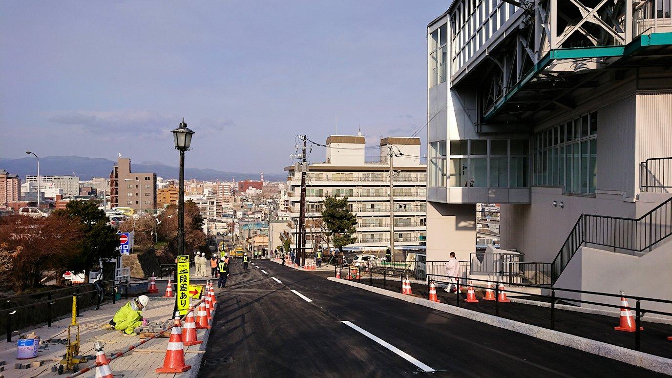 函館市内の函館山ロープウェイ乗り場に到着