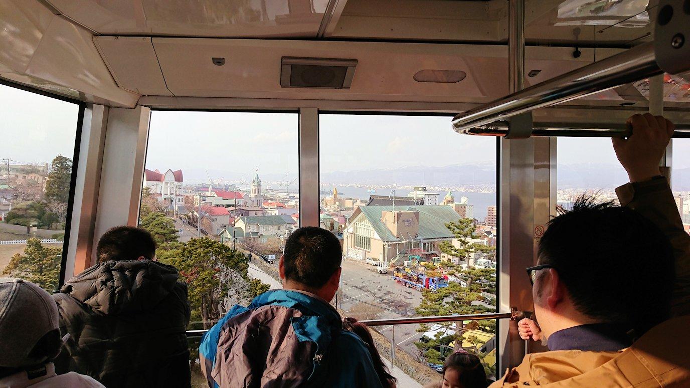 函館市内の函館山ロープウェイ乗り場で頂上を目指す4