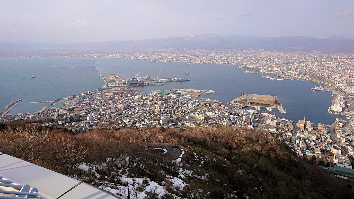 函館市内の函館山ロープウェイで頂上に到着し展望デッキに向かう2