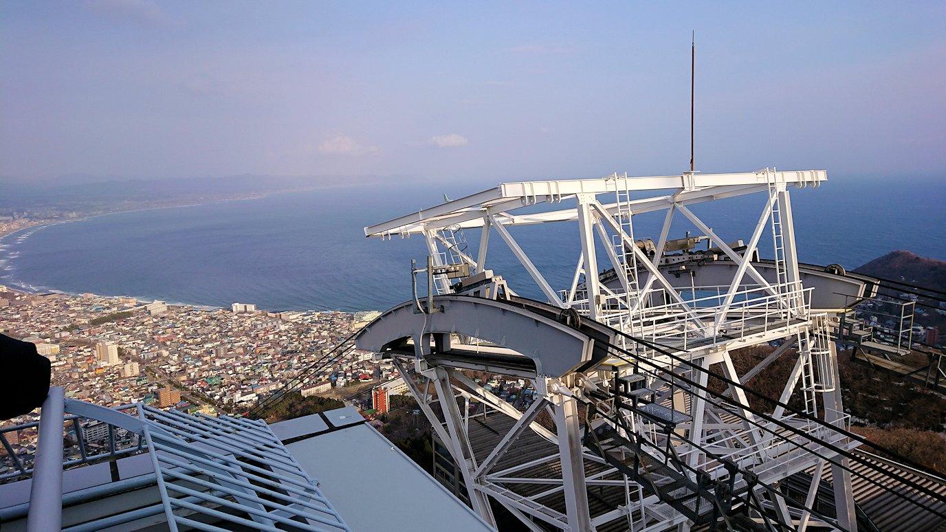 函館市内の函館山ロープウェイで頂上に到着し展望デッキに向かう4