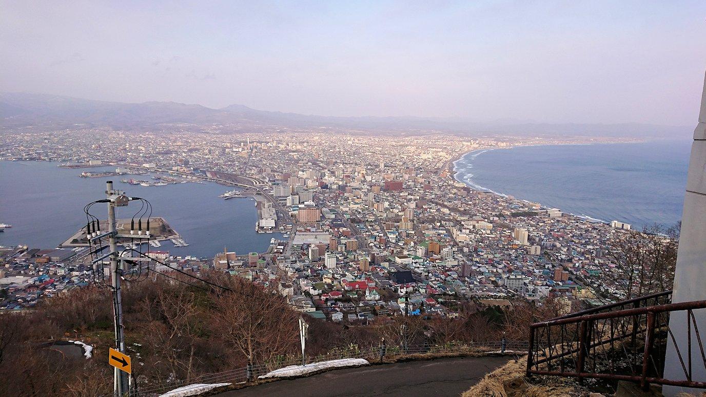 函館市内の函館山の頂上で夕暮れを待つ途中3