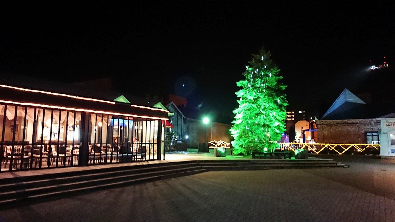 函館市内の函館山の頂上で夜景を見た後、金森赤レンガ倉庫辺りを歩く6