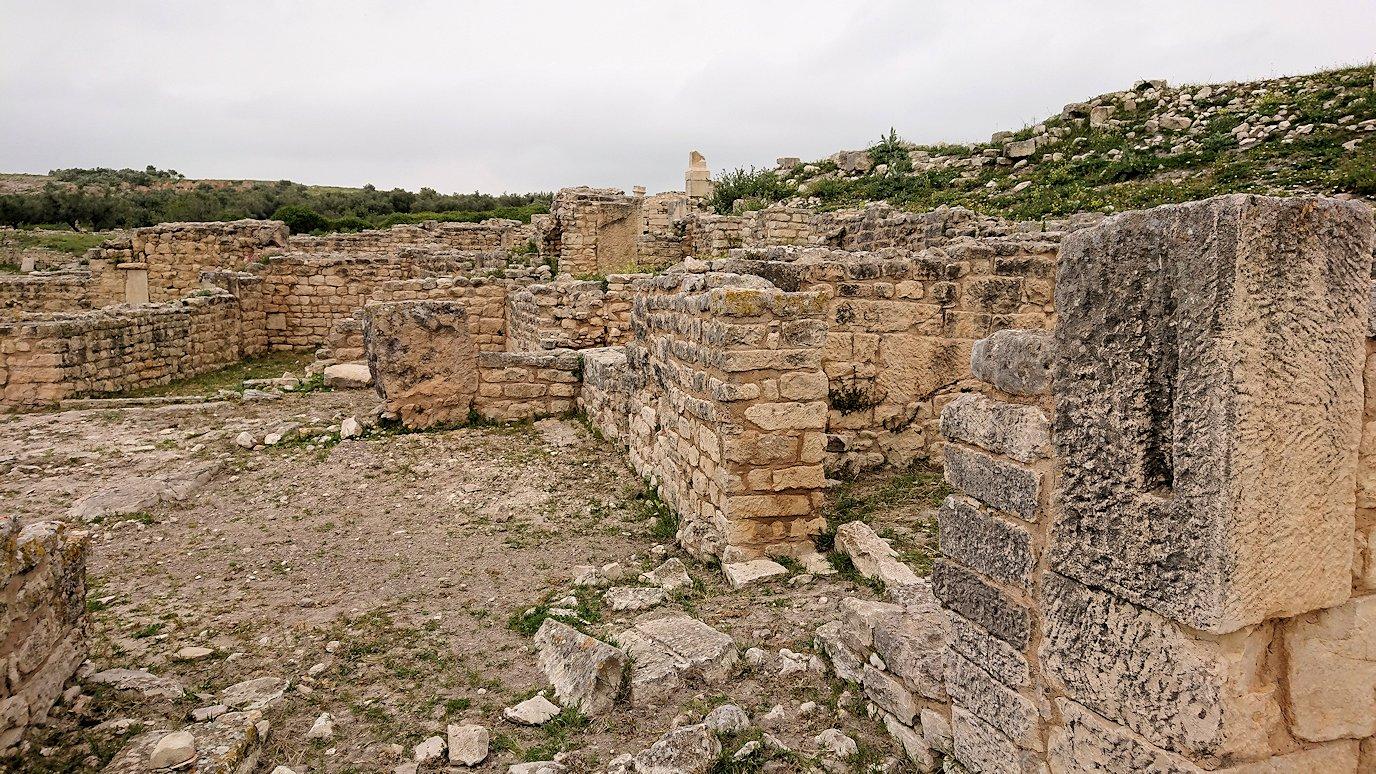 チュニジアのドゥッガ遺跡で奥に進んだ風の広場にて2
