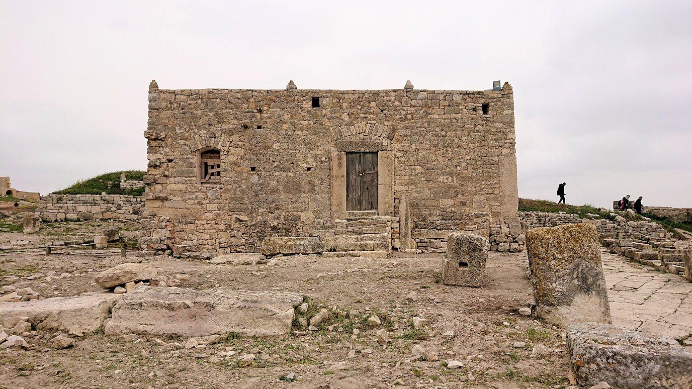 チュニジアのドゥッガ遺跡で奥に進んだ神殿前で記念撮影3
