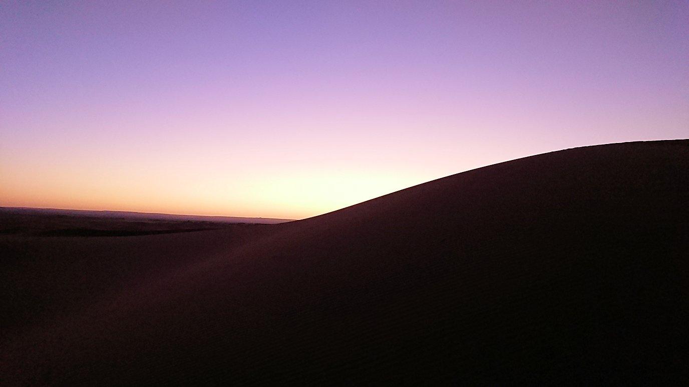モロッコのサハラ砂漠で朝日鑑賞を目的に歩く4