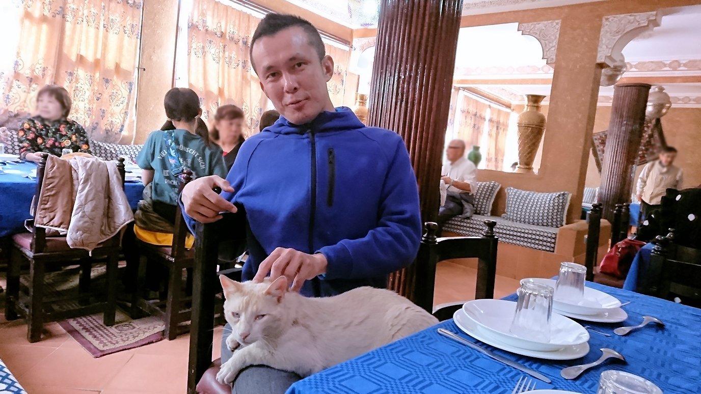 モロッコのワルザザートのアイト・ベン・ハッドゥの観光を終了し近くのレストランで昼食を食べる6
