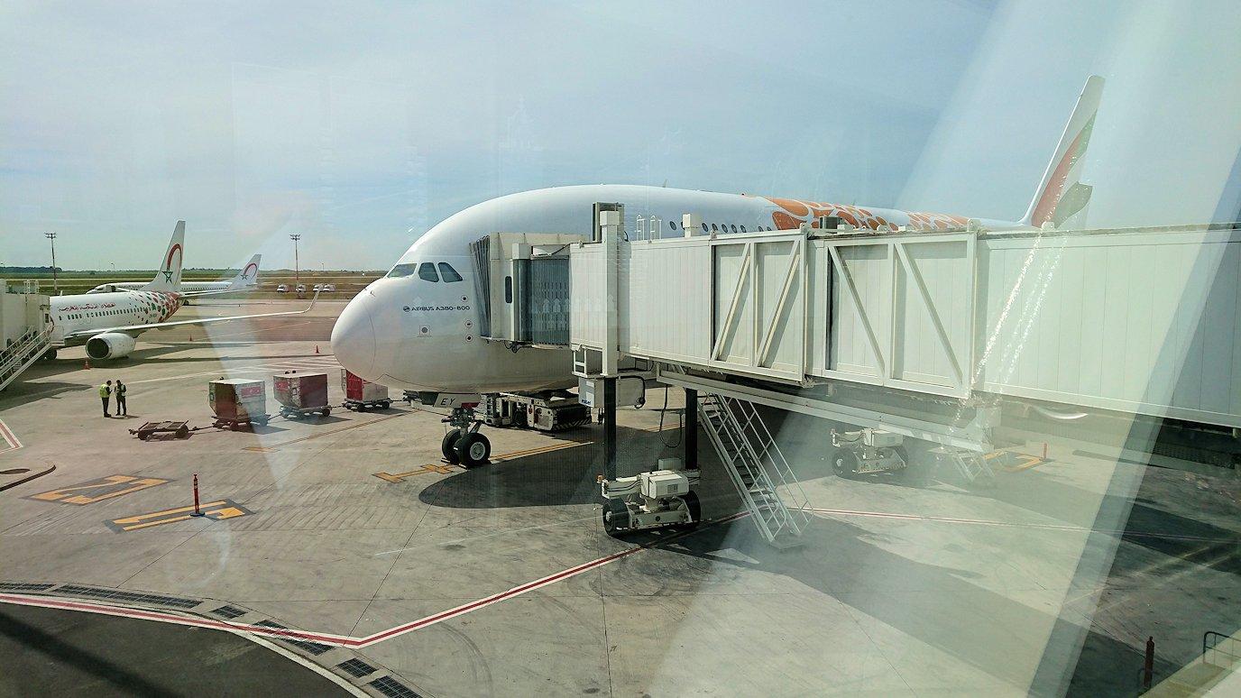 モロッコのカサブランカ空港でA380-800のビジネスクラスに搭乗