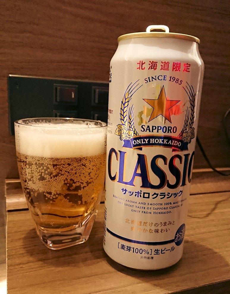 函館市内で函館市内のハセガワストアでやきとり弁当を食べてホテルに戻り温泉に入りくつろぐ