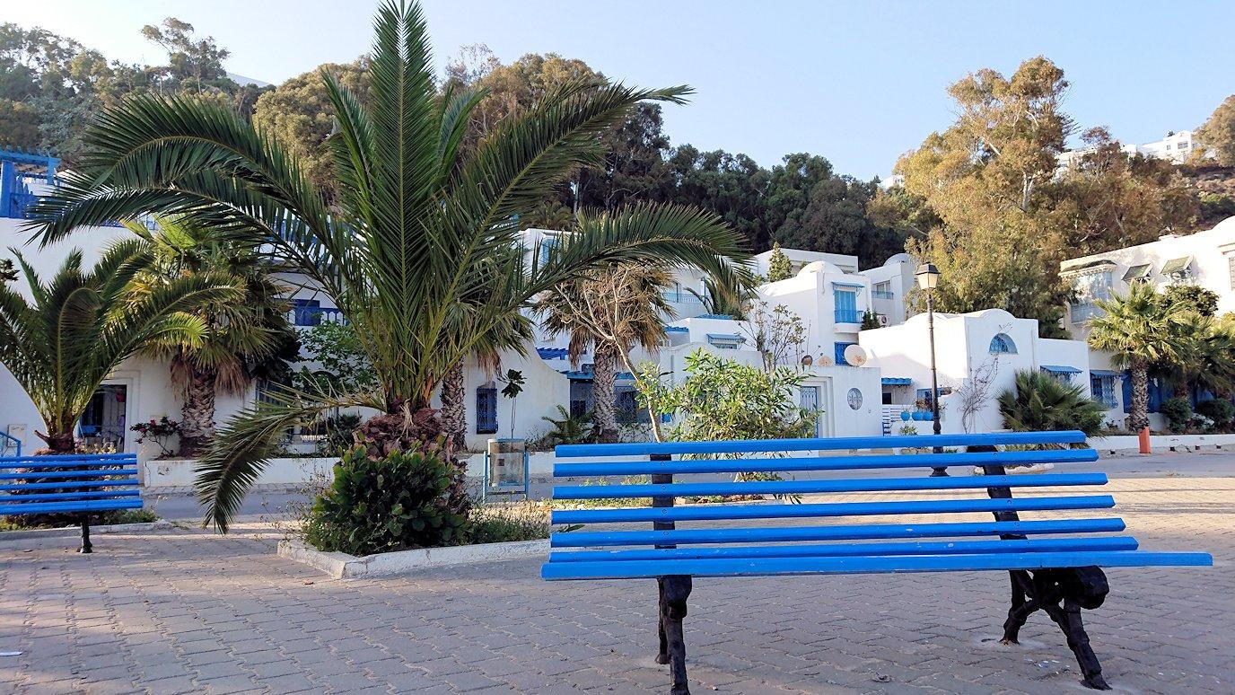 チュニジア:シディ・ブ・サイドで海岸に降りた道を登って行く1