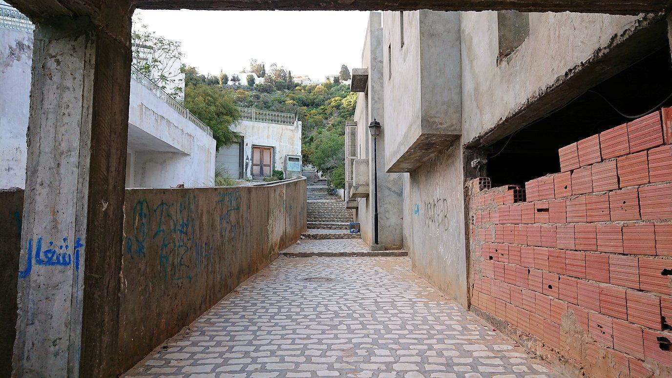 チュニジア:シディ・ブ・サイドで海岸に降りた道を登って行く4