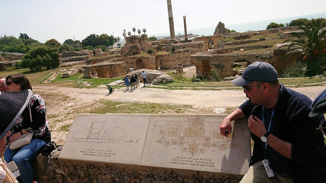 チュニジア:カルタゴ遺跡のアントニヌスの共同浴場を見下ろす3