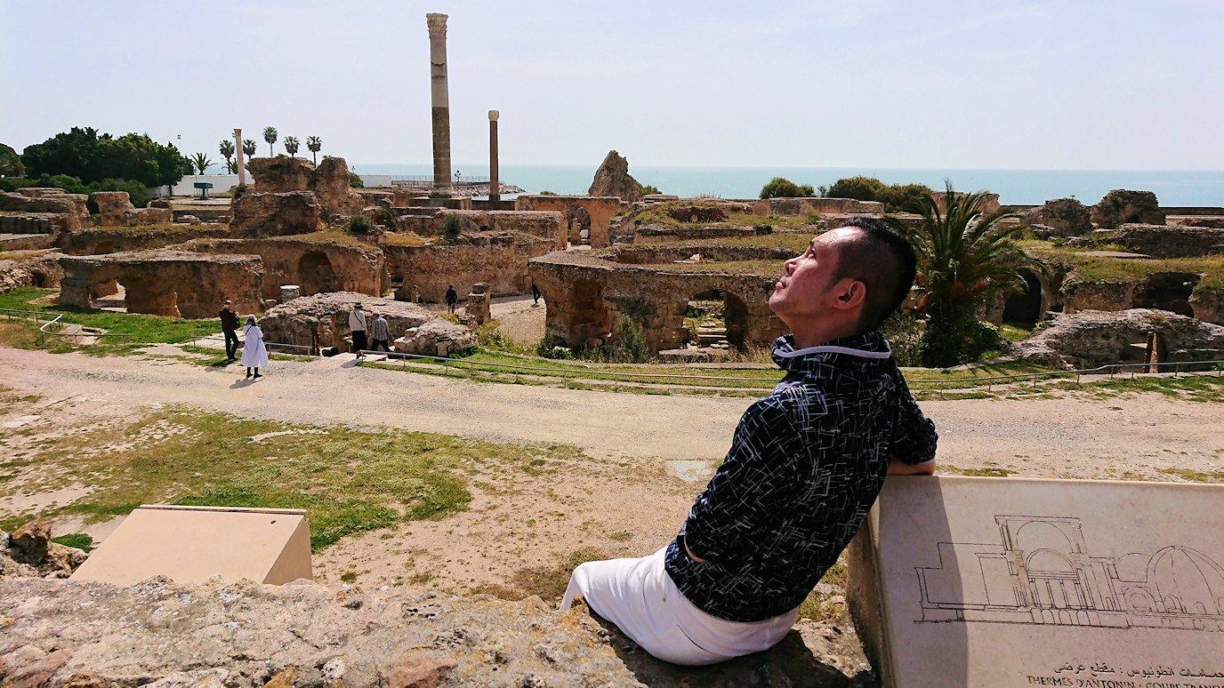チュニジア:カルタゴ遺跡のアントニヌスの共同浴場を見下ろす6