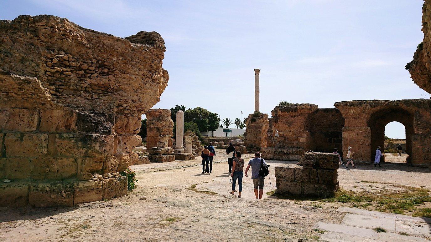 チュニジア:カルタゴ遺跡のアントニヌスの共同浴場内を見ていく9