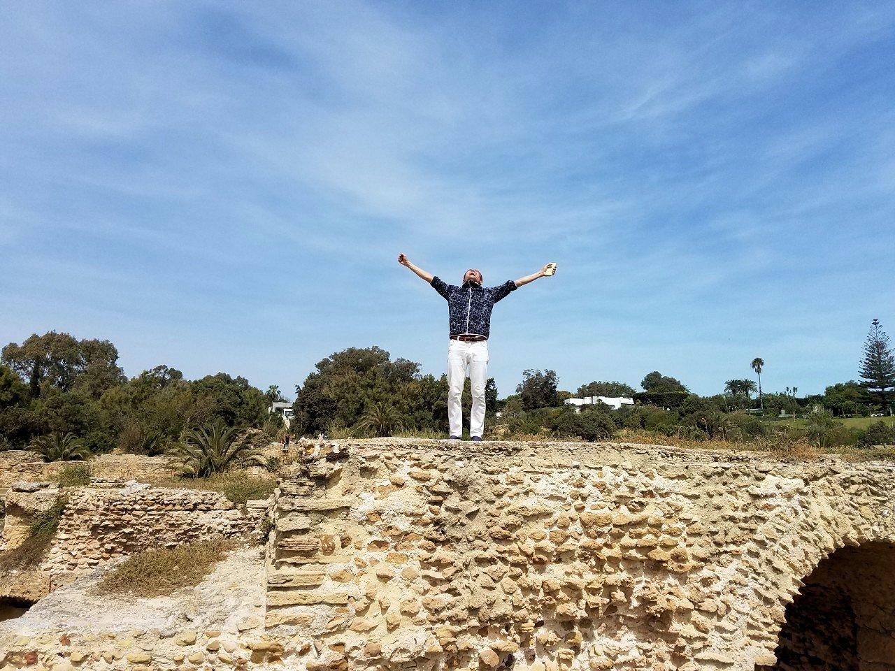 チュニジア:カルタゴ遺跡のアントニヌスの共同浴場内で記念撮影タイム5