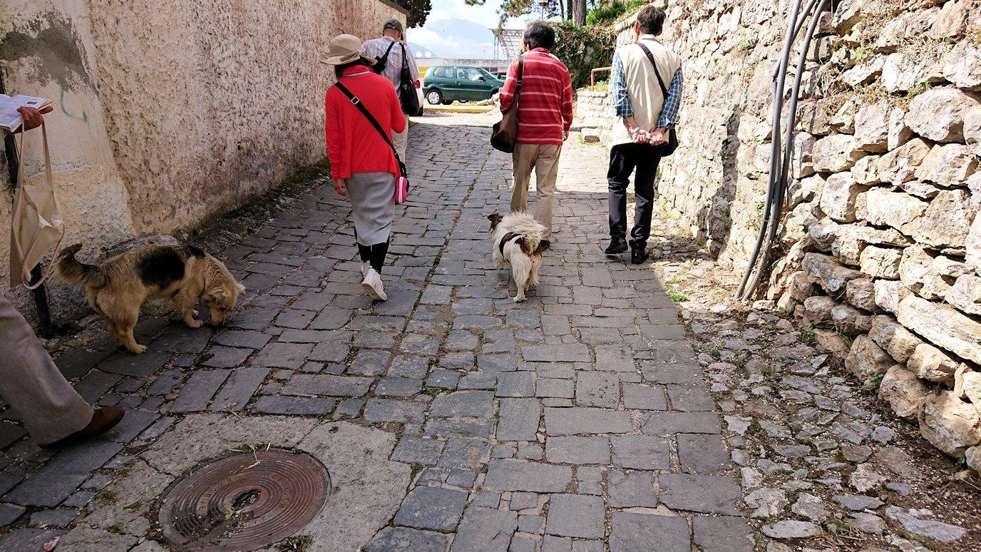 北マケドニアのオフリド湖遊覧終了しオフリドの街を歩いて聖ソフィア教会近くを歩いていく9