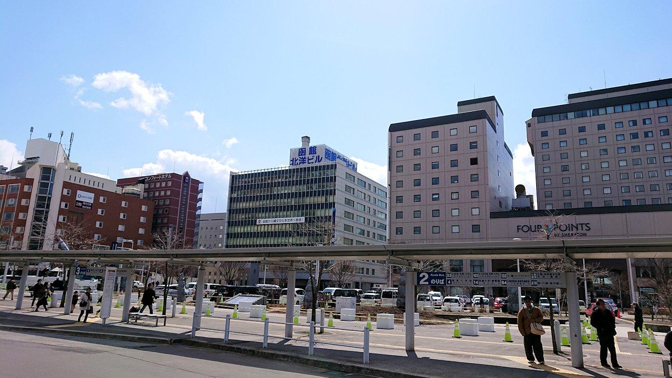 函館市内で空港に向かうバスに乗る5