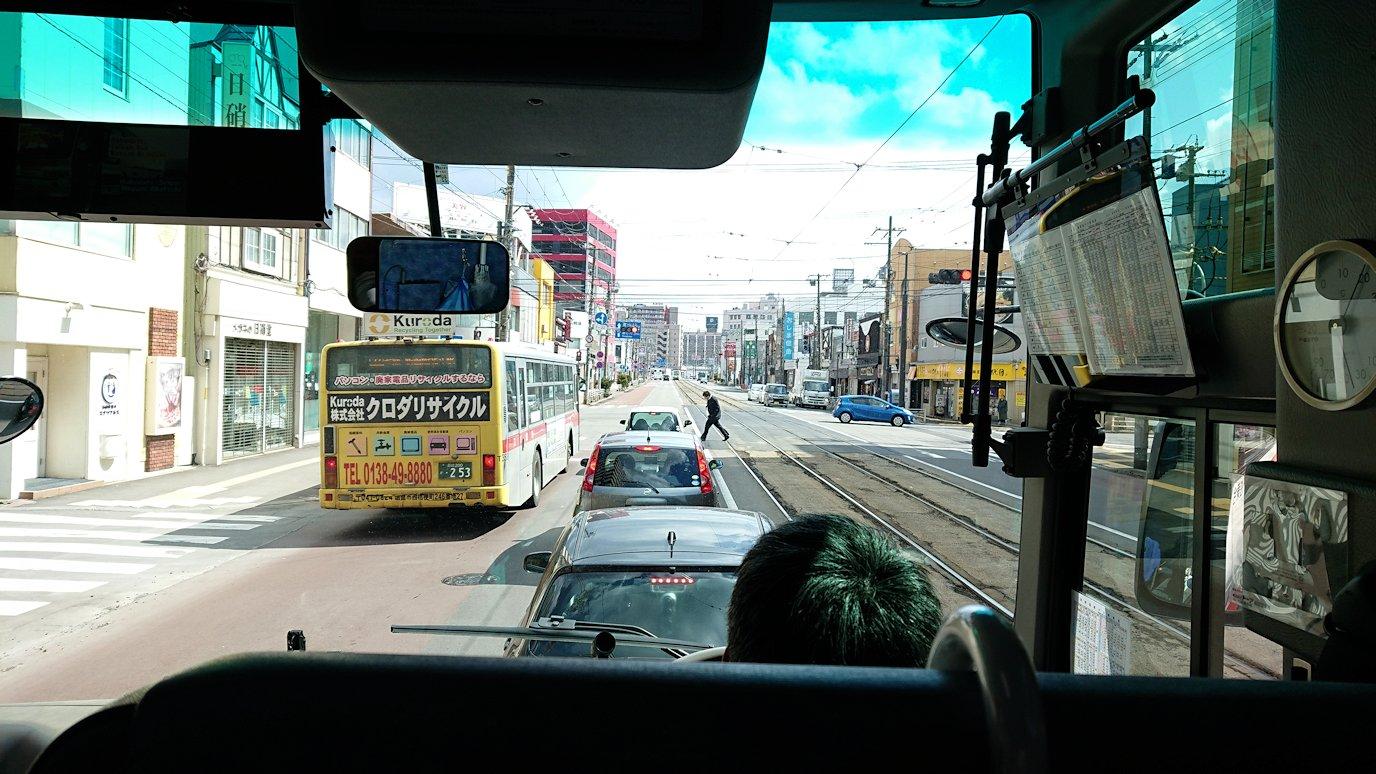 函館市内で空港に向かうバスに乗る9
