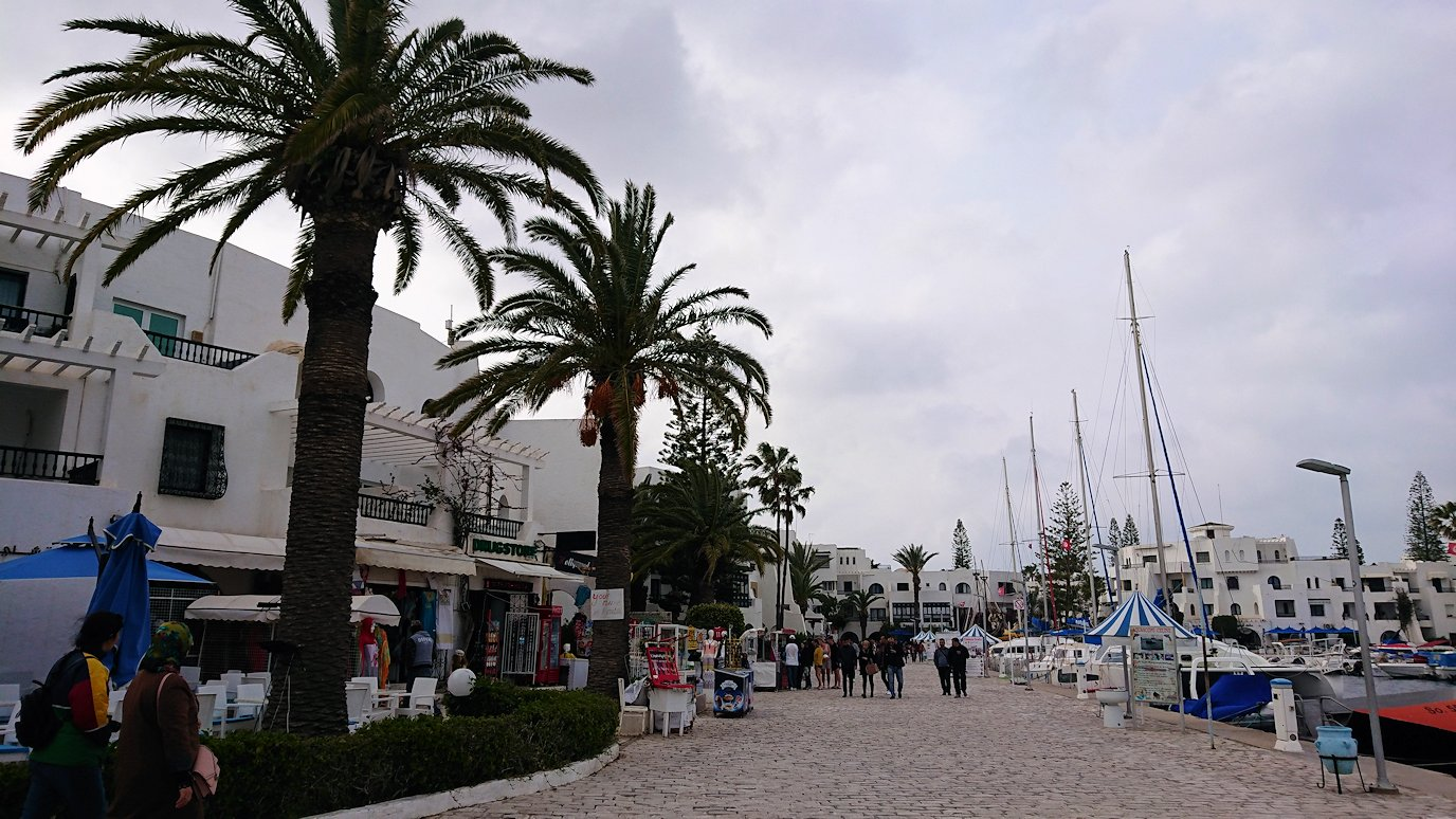 チュニジアのポートエルカンタウィのマリーナ付近を散策