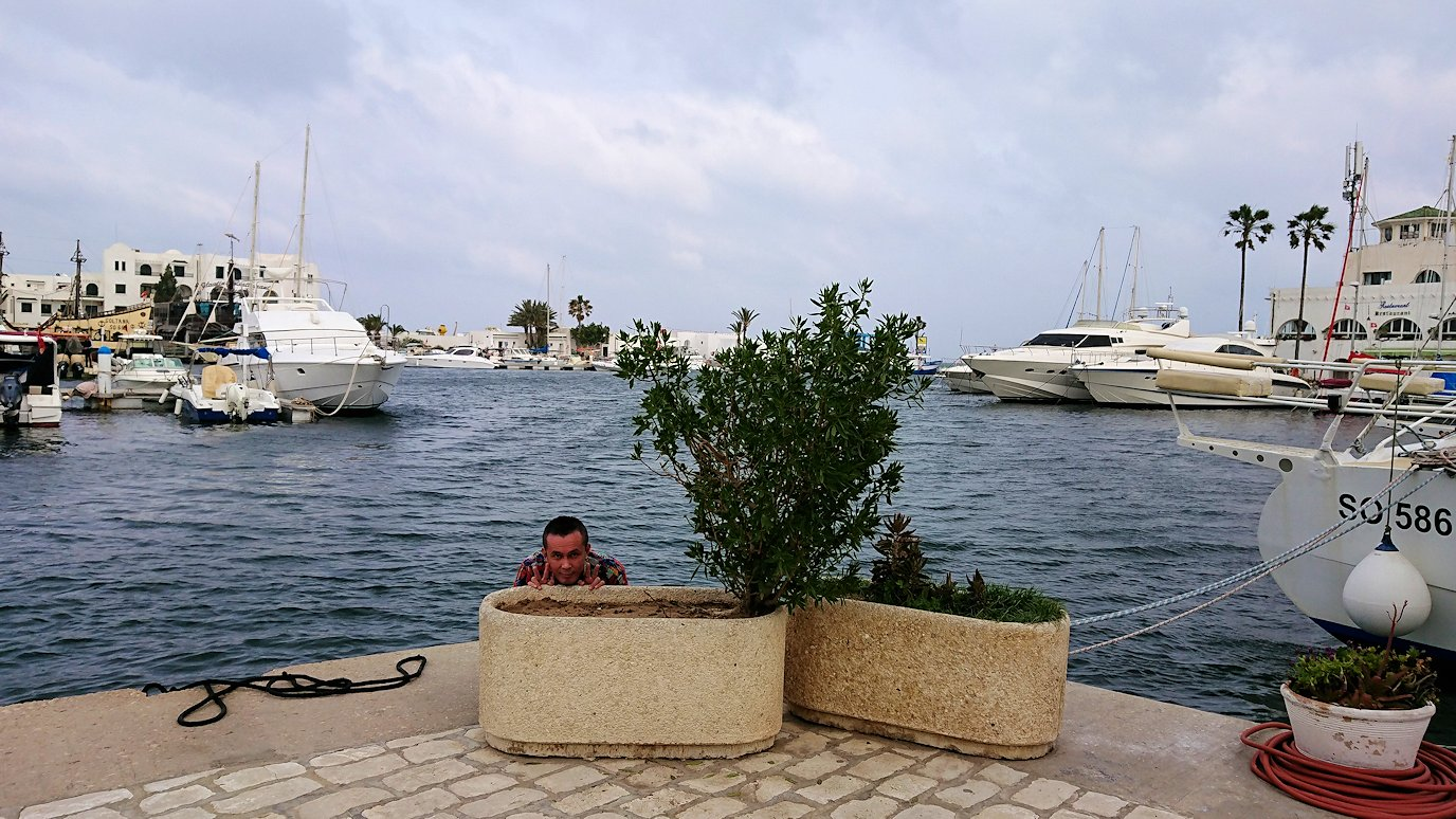 チュニジアのポートエルカンタウィのマリーナ付近を散策3