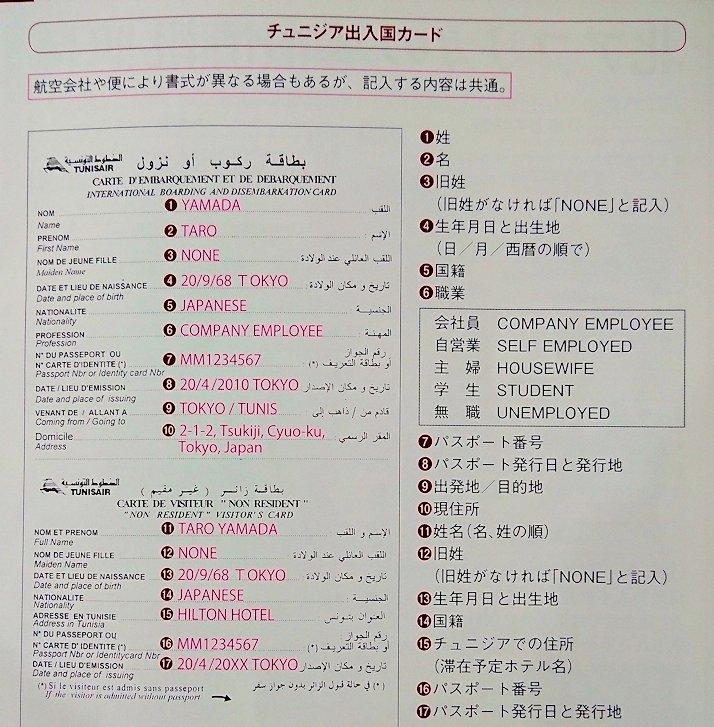 チュニジアの出入国カード