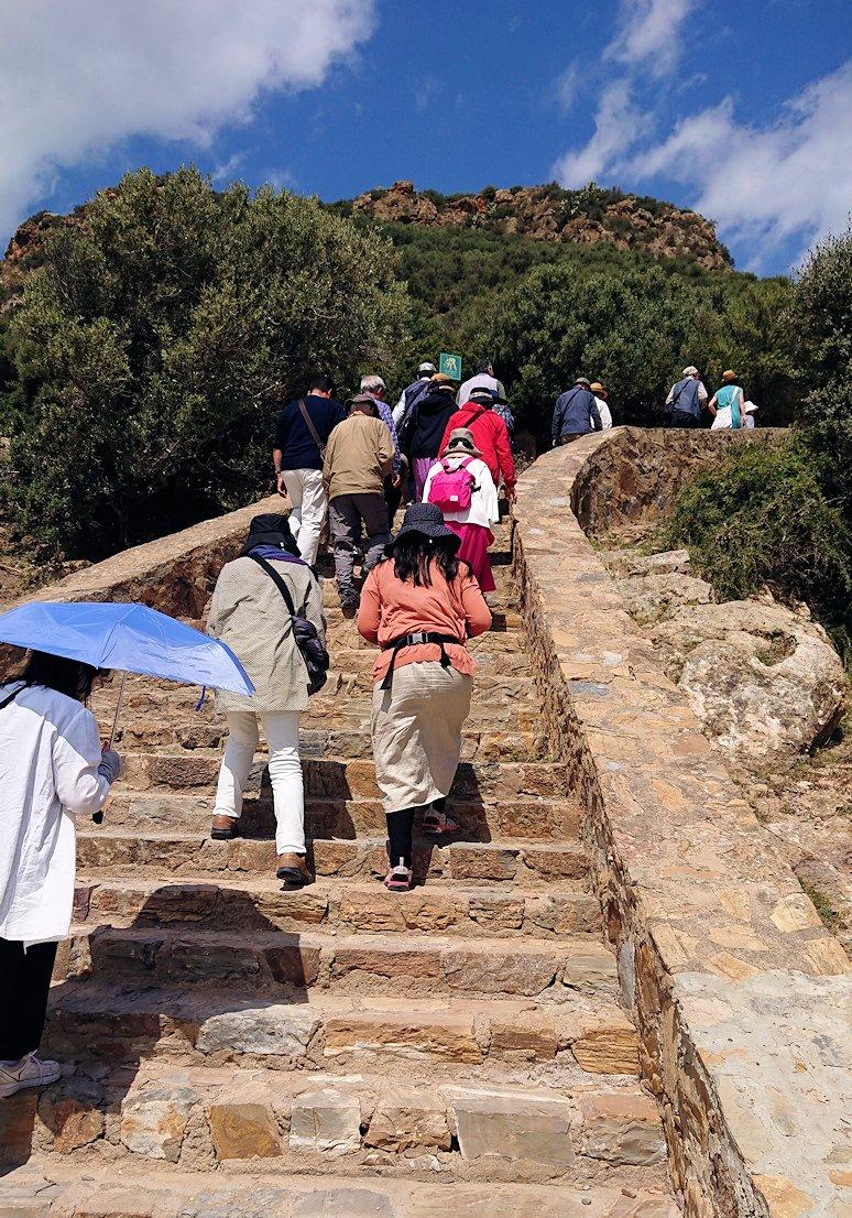 チュニジア:イシュケウル国立公園の階段を登って行きます4