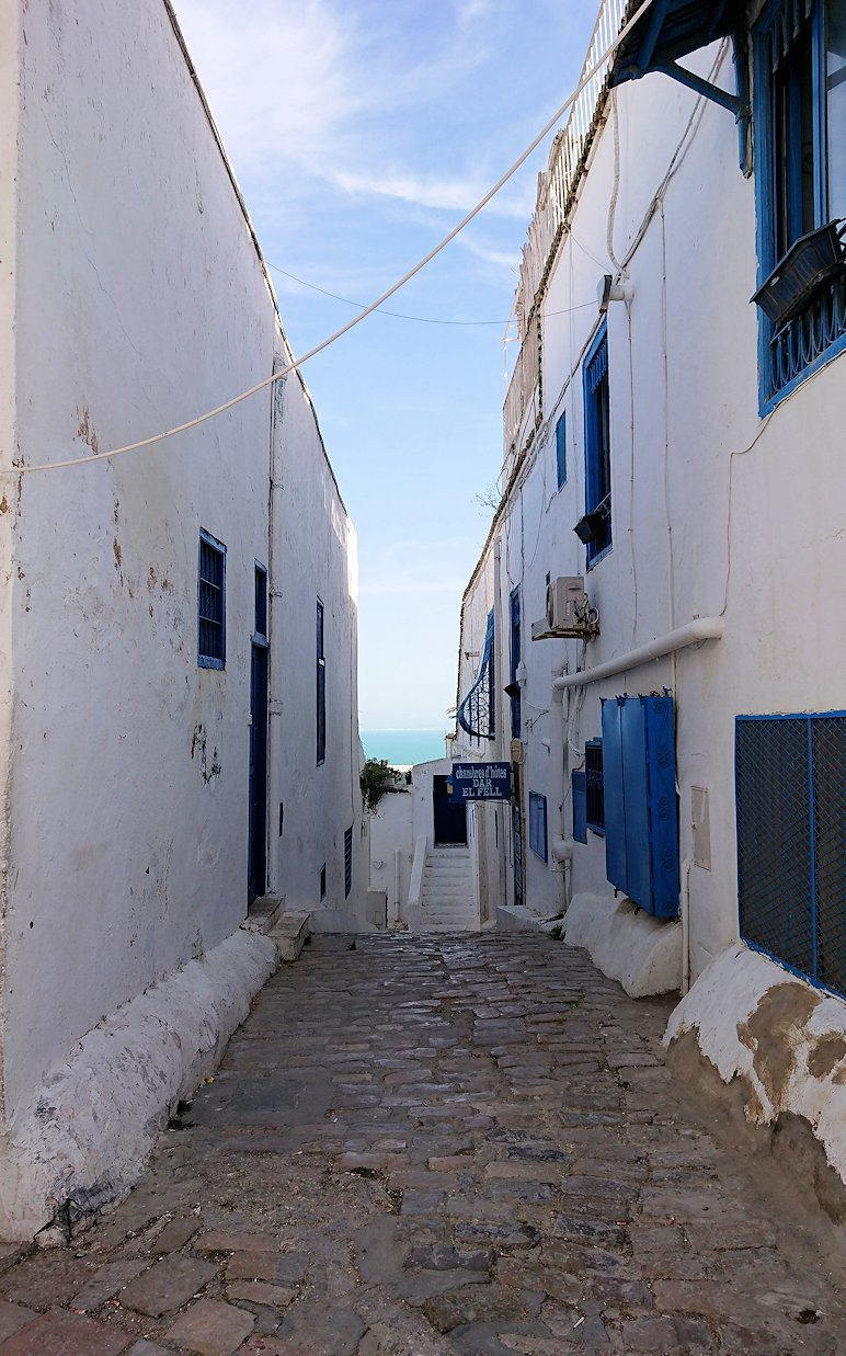 チュニジア:シディ・ブ・サイドの街を進んで行きます2