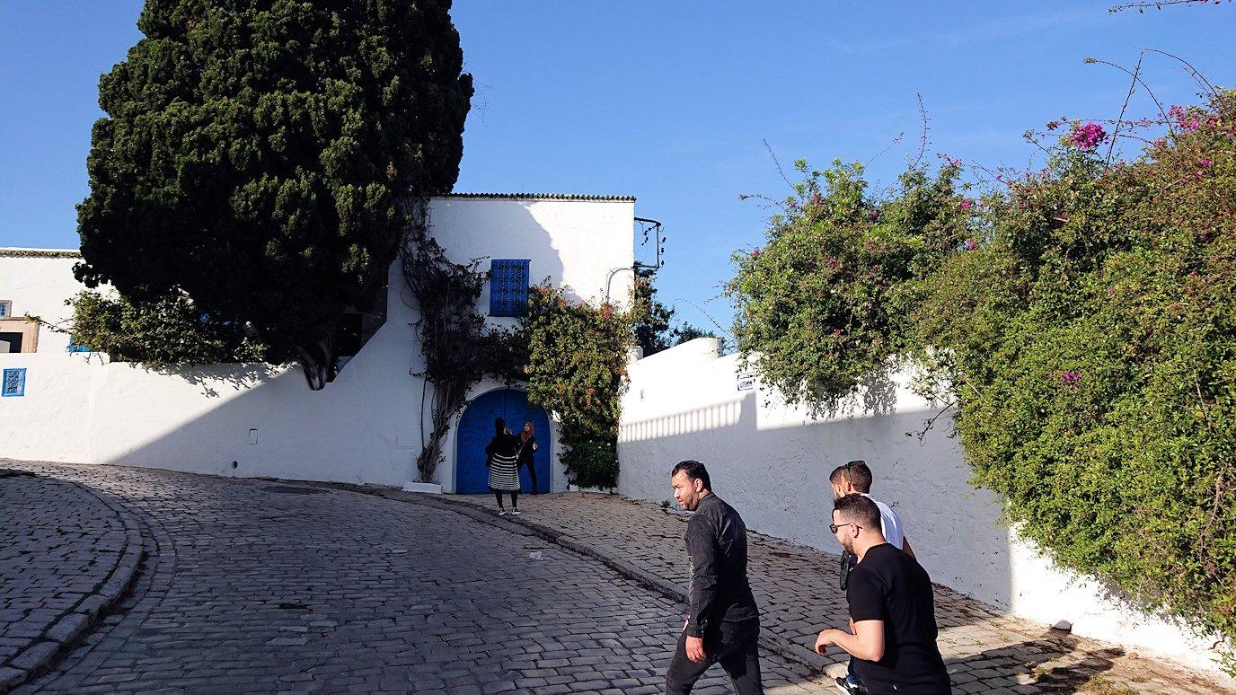 チュニジア:シディ・ブ・サイドの街を進んで絶景ポイントに向かう7