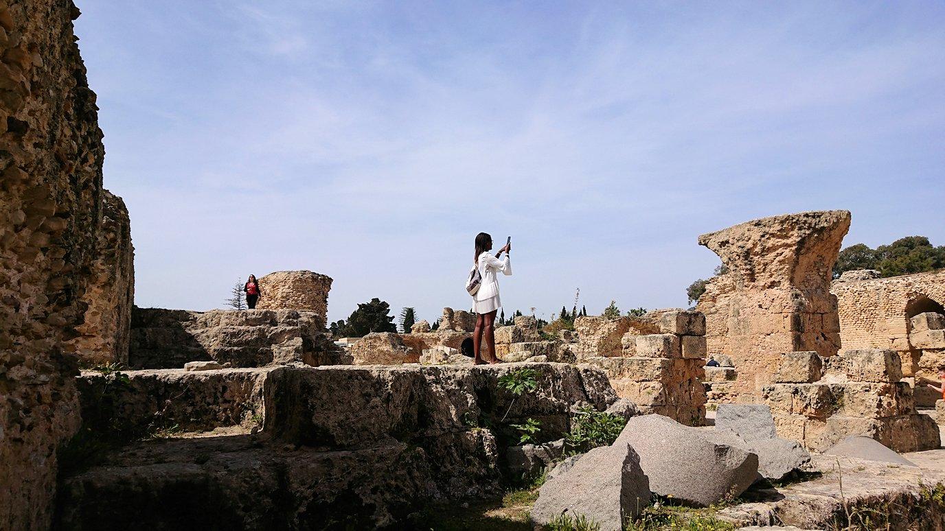チュニジア:カルタゴ遺跡のアントニヌスの共同浴場内の散策は続く