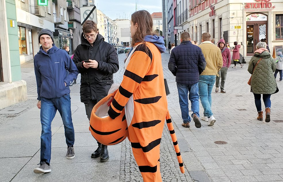 ヴロツワフの街でぷーさんの被り物をした女性