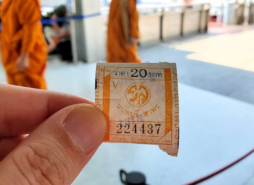 バンコク市内を流れるチャオプラヤー川の船乗り場で購入したチケット